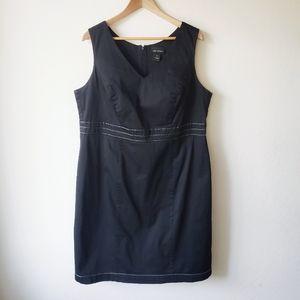 Lane Bryant Black Cotton Sheath Midi Dress